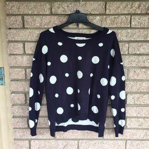 OLIVE & OAK polka dot blue sweater